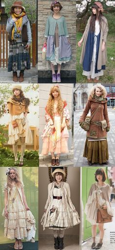 just do darker shades Mori girls, including street fashion - nice! Love to see all the different takes on the style Mori Girl Fashion, Lolita Fashion, Cute Fashion, Asian Fashion, Fashion Styles, Fashion Ideas, Look Boho, Bohemian Style, Forest Girl