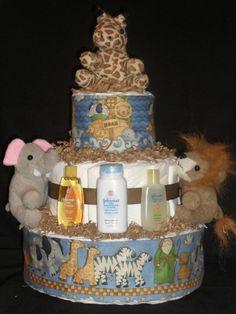 Blue Noah's Ark Animal Theme Diapercake by DiapercakeGiftsNMore, $33.00