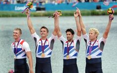 Pete Reed, Andrew Triggs Hodge, Alex Gregory and Tom James of Great Britain celebrate with their gold medals