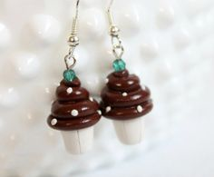 Chocolate Cupcake Earrings  Polymer Clay by Emariecreations, $10.00