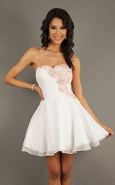 Cheap Short Strapless White Short Dress by Riva L956 [Short Dress by Riva L956] - $126.00 : Fashion Cheap Homecoming Dresses for Girls at homecomingdressesfashion.com