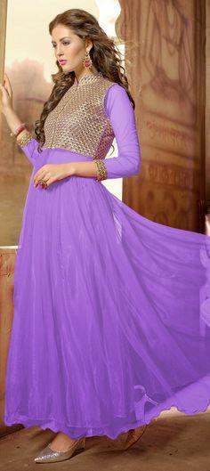 430083: Purple and Violet color family unstitched Anarkali Suits .
