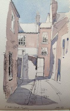 a sketch of Monks Court in York -a study for a full size painting