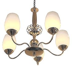 Brass finish six-arm chandelier with ovoid opaque glass shades.
