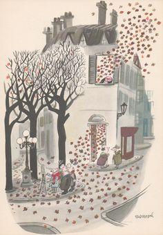 """""""Comment on s'enrhume à Paris – Septembre"""" (How you catch a cold in Paris, September), par Jean-Jacques Sempé, 1961"""