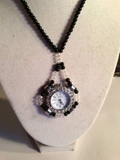Watch Necklace Watch Pendant Black and Crystal Silver by cdjali, $25.00
