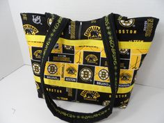 Boston Bruins Quilted Purse - Quilted Tote - Market Bag - Shopping Bag - Shoulder Bag - NFL Tote - NHL Tote - Bruins Tote - Beach Bag by Nanasewingroom on Etsy
