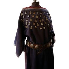Southern Cheyenne Woman's Stroud Cloth Dress With Early Coins And Brass Studded Wide Concho Belt