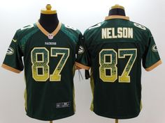 2481b45ca Men's Nike NFL Green Bay Packers #87 Jordy Nelson Drift Fashion Green Elite  Jersey The