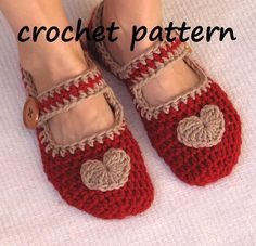 Mary Jane Slippers Crochet Pattern PDF,Easy, Great for Beginners