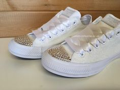 Glitter Low Tops with Silver Swarovski crystal toes and white ribbon laces #wedding #weddingconverse #glitter #bride #bridal #bridesmaids #footwear #shoes #chucks #glitterconverse #swarovski #allstars #kicks #weddingshoes #bridalshoes