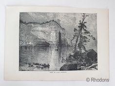 Antique engraved print entitled: View on Lake Superior. Antique Prints, Vintage Prints, Retro Vintage, Decoration, Art Decor, Engraving Printing, Canada, Lake Superior, Monochrome