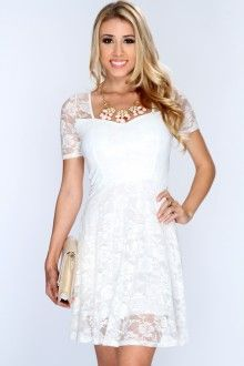White Shimmer Lace A-Line Dress