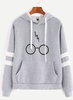 Minetom Women& Autumnn Fashion Long Sleeve Pullover Harry Potter Glasses Prints Hoodies Hooded Sweatshirt Sweater Tops Gray US 14 Mode Harry Potter, Harry Potter Glasses, Harry Potter Outfits, Harry Potter Clothing, Harry Potter Fashion, Harry Potter Accessories, Harry Potter Jewelry, Harry Potter Sweatshirt, Hoodie Sweatshirts