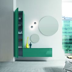 Hallway Unit 'Bright', flamboyant green, round mirror. Luxury materials.