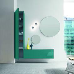 Hallway Unit 'Bright', flamboyant green, round mirror. Luxury materials.