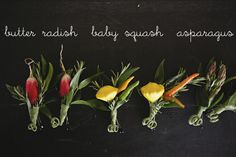 Radish, baby squash, and asparagus boutineers for helpers