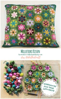 Beautiful flower pillow pattern to use up your remaining scrap yarn - knit and crochet daily, .Beautiful flower pillow pattern to use up your leftover scrap yarn - knit and crochet daily, crochet Crochet Cushion Cover, Crochet Cushions, Crochet Afghans, Crochet Motif, Crochet Flowers, Free Crochet, Cushion Covers, Mandala Crochet, Diy Flowers