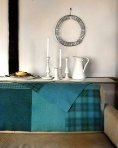 blue patch worked tartan table drape...this would make a pretty buffet table