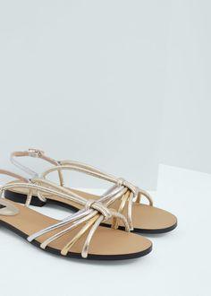 Metallic strap sandals   vegan shoes