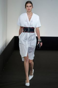 Hermès.  Belts, belts!  You can't go wrong with belts! And this look is easy to recreate with a men's dress shirt.