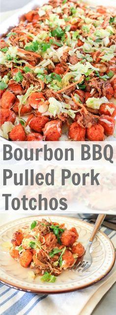 Bourbon BBQ Pulled Pork Totchos | TheNoshery.com #KCMasterpiece #ad @KC Masterpiece