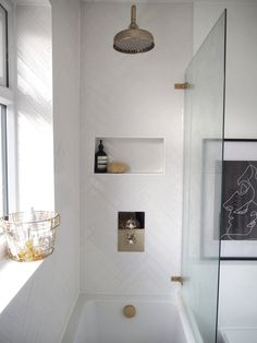 A Fashion Fix's Hannah Crosskey chose our Artisau Gloss White tile in an amazing herringbone pattern to help transform a previously beige bathroom Mold In Bathroom, Loft Bathroom, White Bathroom Tiles, Upstairs Bathrooms, Bathroom Renos, White Tiles, Simple Bathroom, Bathroom Renovations, Bathtub Tile