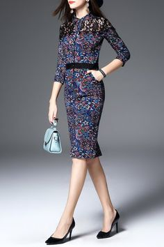 Lace Insert Pencil Dress - MULTI S