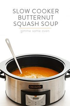 Creamy Slow Cooker Butternut Squash Soup with apple, cinnamon, and nutmeg - getting ready for fall.