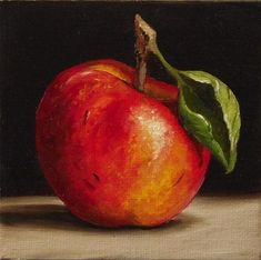 """Red Apple  and  Pear"" - Original Fine Art for Sale - © Jane Palmer"