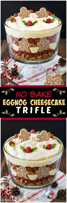 No Bake Eggnog Cheesecake Trifle - layers of cookies, berries, & cheesecake crea. No Bake Eggnog Cheesecake Trifle - layers of cookies, berries, & cheesecake creates an impressive but easy dessert. Great recipe for Christmas parties! Holiday Baking, Christmas Desserts, Christmas Treats, Holiday Treats, Christmas Parties, Holiday Recipes, Christmas Christmas, Christmas Recipes, Christmas Dinners