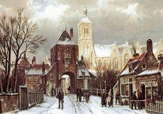 Grote kerk en landpoort in de winter door Willem Koekkoek