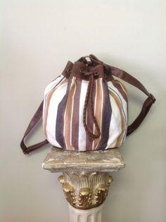4601128bfc Axcess Liz Claibourne Bag Purse Backpack Cotton Canvas Polyvinyl Stripes  Boho