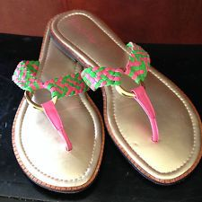 Pink and green sandals