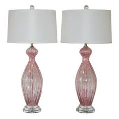 Pair of Vintage Murano Lamps in Cotton Candy Pink with Silver