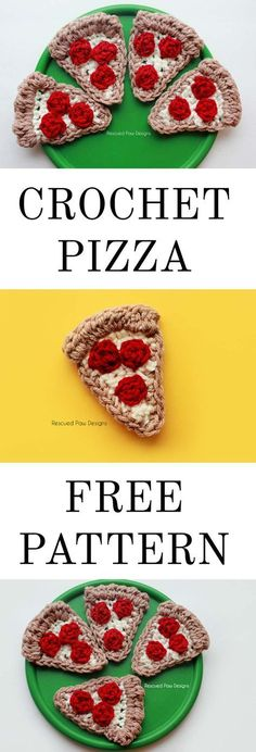 Terrific No Cost Crochet basket applique Style Crochet Pizza Applique Free Crochet Pattern! Make this today for your next party or get together or Crochet Puff Flower, Crochet Fruit, Crochet Food, All Free Crochet, Crochet Flower Patterns, Crochet Gifts, Cute Crochet, Crochet For Kids, Crochet Dolls