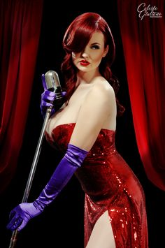Samantha Samsam as photographed in full-on Jessica Rabbit mode by the extremely talented Celeste Giuliano out of Philadelphia. May well be the best pin-up photographer I've stumbled across.