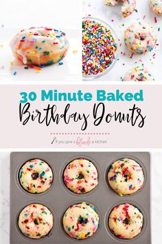 Birthday donuts are filled with funfetti sprinkles and topped with a sugary glaze. Bake the donuts in a donut tin or muffin tin. Baked Donut Recipes, Baked Doughnuts, Baking Recipes, Healthy Baked Donuts, Donut Maker Recipes, Kitchen Recipes, Fun Desserts, Delicious Desserts, Dessert Recipes