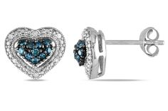 1/4 CT  Blue and White  Diamond TW Ear Pin Earrings Silver GH I1;I2 Black Rhodium Plated