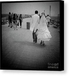 Boardwalk Nuptials Canvas Print by Onedayoneimage Photography.  All canvas prints are professionally printed, assembled, and shipped within 3 - 4 business days and delivered ready-to-hang on your wall. Choose from multiple print sizes, border colors, and canvas materials.
