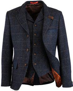 Gibson London Retro 60s Mod Herringbone Blazer and Waistcoat - Blue