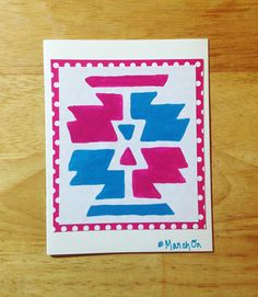 """Blank greeting cards apart of my """"March On, Sister"""" card line that were created in honor of my sister & her strength to march through her recent diagnosis of Multiple Sclerosis (MS).  A stencil was used to create the tribal pattern on each 4X5 card. The cards are individually hand-painted with bold color combinations and beneath the painted stencil, in my personal handwriting, it says #MarchOn."""