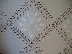 ÄLVGÅRDEN: januari 2008 Kitchen Wallpaper, Wall Wallpaper, Swedish Wallpaper, Wood Panneling, Stenciled Floor, Swedish Style, Scandinavian Interior, Wall Decor, Wall Art