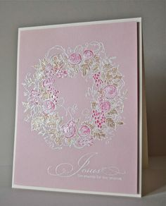 Jesus is the reason for the season! Shimmery pink Christmas wreath from Serendipity Stamps  marybethstimeforpaper