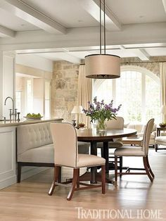 House Tour: Stone House Phoebe Howard Interiors I'm thinking this for the dining room Dining Room Design, Dining Area, Dining Rooms, Dining Table, Kitchen Island Table, Kitchen Dining, Kitchen Seating, Kitchen Islands, Open Kitchen