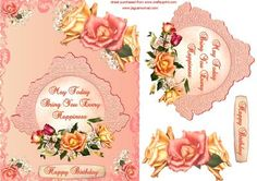 Always Roses on Craftsuprint designed by Debra Jenkinson - A pretty peachy shade background with corner roses and gyp. A central plaque with the sentiment, also decorated with roses in apricot and pink. - Now available for download!
