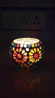 Blue Pottery, Bedside Lamp, Tea Light Holder, 1 Cup, Home And Living, Tea Lights, Hand Carved, Mosaic, Ceramics