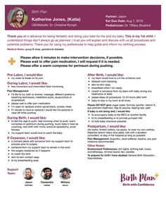 Birth Plans  Sample Birth Plans  Birth Plans    Birth