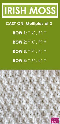 Irish Moss Knit Stitch Pattern and Video Tutorial by How to Knit the IRISH MOSS Stitch Free Knitting Pattern + Video Tutorial by Studio Knit Knitting Stiches, Knitting Needles, Knitting Patterns Free, Free Knitting, Knit Stitches, Knitting Ideas, Knitting Tutorials, Vintage Knitting, Crochet Patterns