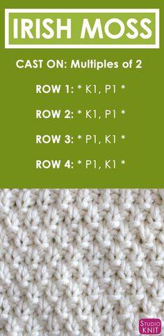 Irish Moss Knit Stitch Pattern and Video Tutorial by How to Knit the IRISH MOSS Stitch Free Knitting Pattern + Video Tutorial by Studio Knit Knitting Stiches, Knitting Patterns Free, Knitting Needles, Free Knitting, Stitch Patterns, Knit Stitches, Knitting Ideas, Knitting Tutorials, Vintage Knitting